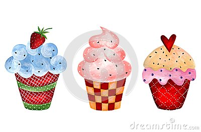 Set of cupcakes. Watercolors on paper