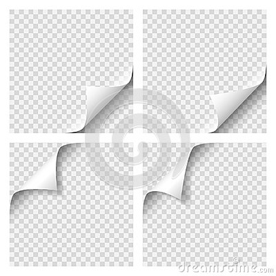 Set of Curly Page Corner. Blank sheet of paper with page curl with transparent shadow. Realistic vector illustration Vector Illustration