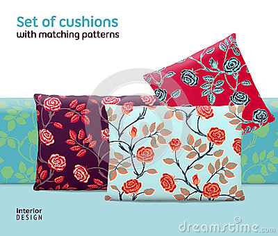 Set of cushions and pillows with matching seamless patterns Vector Illustration