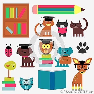 Set of cute animal students