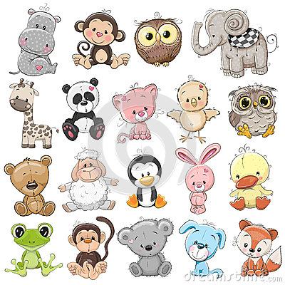 Set of Cute Animals Vector Illustration