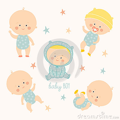Set with cute baby boys. Growth from newborn to toddler. Various poses.First year. activities. Crawling, sitting Vector Illustration