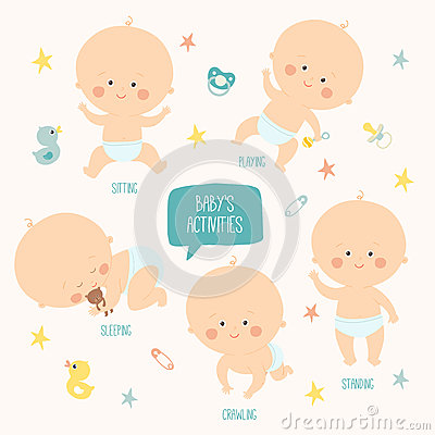 Set with cute baby boys 0-12 months. Various poses. First year activities. Sleeping, sitting, playing, standing Vector Illustration
