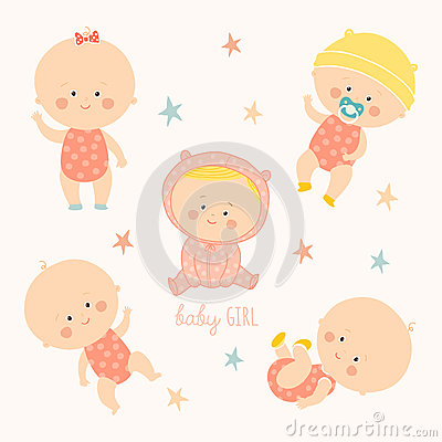 Set with cute baby girls. Growth from newborn to toddler. Various poses.First year. activities. Crawling, sitting Vector Illustration