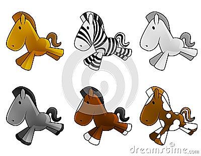 Set of cute baby horses