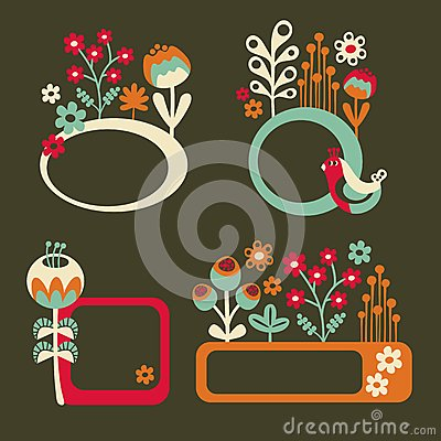 Set of cute banners with birds and flowers.