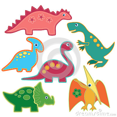 The set of cute bright dinosaurs patches vector illustration. Cardboard dino style. Vector Illustration