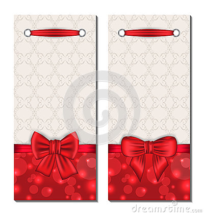 Set of cute cards with gift bows