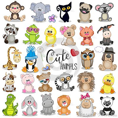 Set of Cute Cartoon Animals Vector Illustration