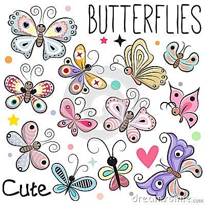 Set of Cute cartoon Butterflies Vector Illustration