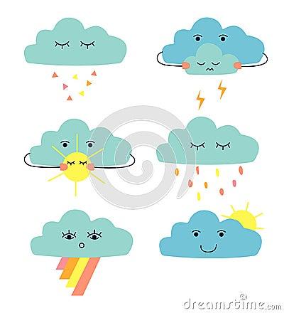 Set of cute cartoon clouds: rain cloud; thunder cloud; cloud witn sun; cloud with rainow. Vector Illustration