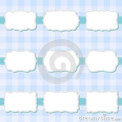 Set of cute cartoon decorative sewing blank frames. Shape labels for baby shower, banner, sticker, scrapbook template. Vector Illustration