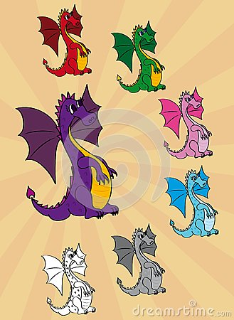 Set of cute cartoon dragons