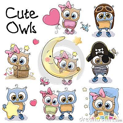 Set of Cute Cartoon Owls Vector Illustration