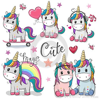 Set of Cute Cartoon Unicorns Vector Illustration
