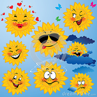 Set of cute cartoons of sun with different express
