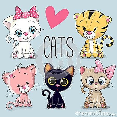 Set of cute cats Vector Illustration