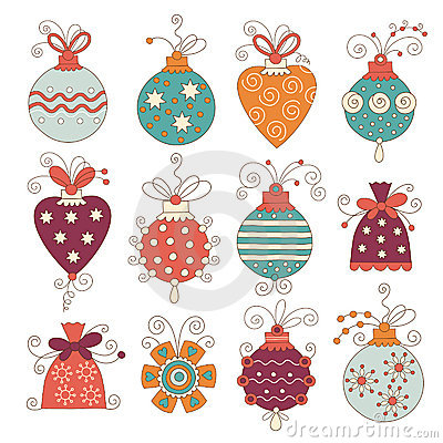 Set of cute chritmas decoration