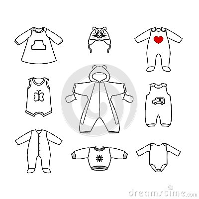 Set Of Cute Clothes For The Little Baby. Collection Of Clothing In A Linear Style For The ...