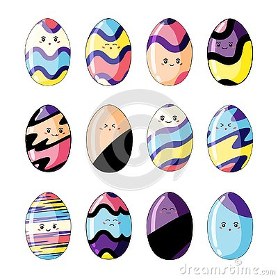 Set of cute colorful easter eggs in style kawaii isolated on white background Vector Illustration