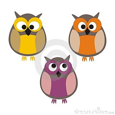 Set of cute colorful isolated vector owls