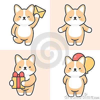 Vector set of cute corgi dog characters Stock Photo