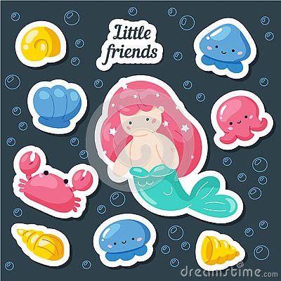 Set of cute creative stickers templates with mermaid theme design. Hand Drawn card for birthday, party invitations, scrapbook, Cartoon Illustration