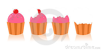 Set of cute cupcakes