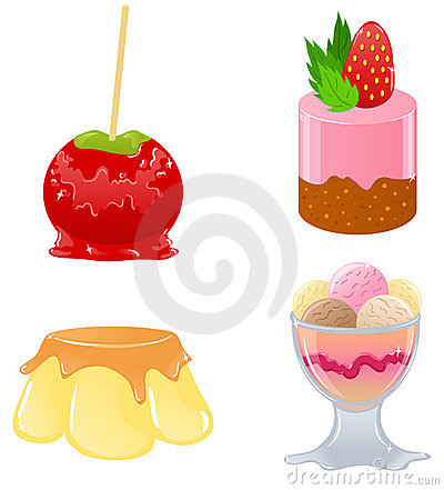 Set of cute desserts