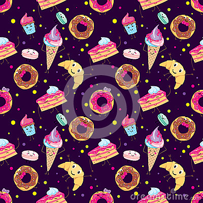 Set of cute desserts. Donuts, muffins, pasta, coffee, tea, cup, cake, ice creams and a croissant. Smiling sweets. Characters. Vector Illustration