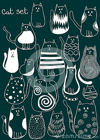 Set of cute doodle cats. Outline animal art Vector Illustration