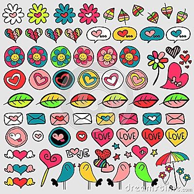 Set of cute doodle elements
