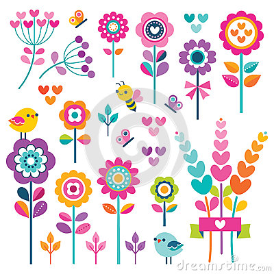 Free Set Cute Floral Elements Heart Butterfly Bird Pink Stock Images - 87651684