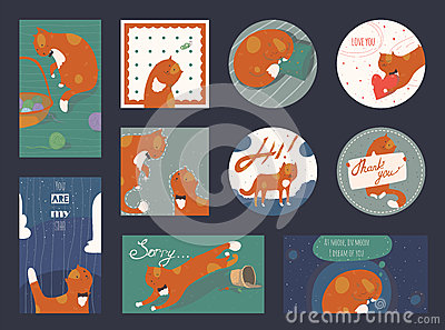 Set of cute and funky square and round cards, horizontal and vertical, with funny ginger cats. Lettering includes words sorry, tha Stock Photo