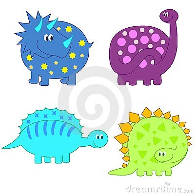 Set of cute funny Dinosaurs