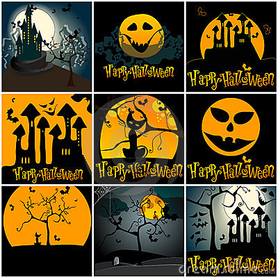 Set of cute Halloween illustrations