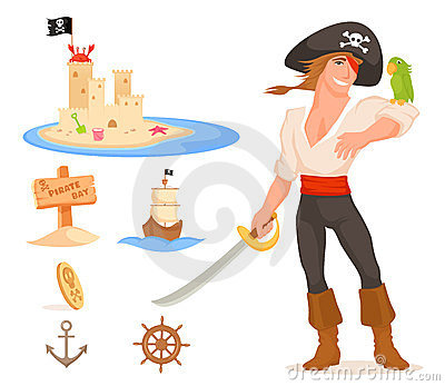 Set of cute illustrations related to pirates