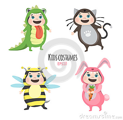 Set of cute kids wearing animal costumes on white background, Kid with animals costume, cute child in costume Vector Illustration