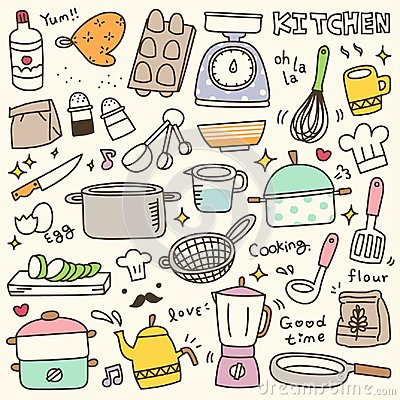 Set of Cute Kitchen Spices and Utensils Doodle Vector Illustration