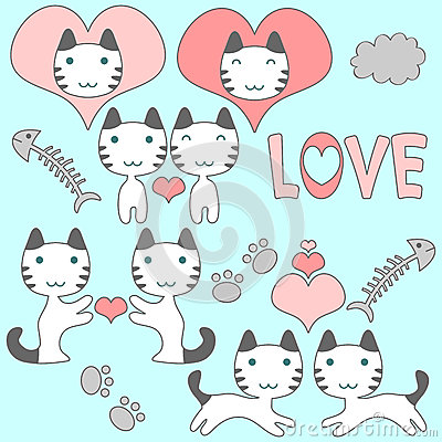 Set of cute kittens romantic theme
