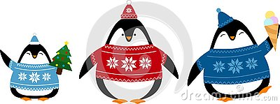 Set of cute penguins in sweaters and hats Stock Photo