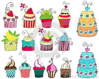 Set of cute retro cupcakes