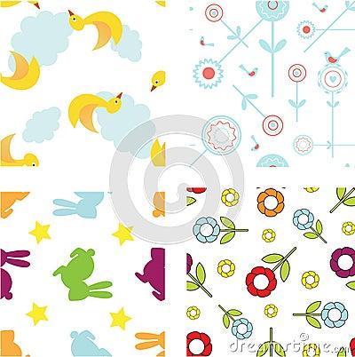 Set of cute seamless patterns