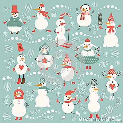Set of cute snowmen