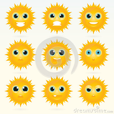 Set of cute sun emoticons. Vector Illustration