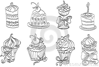 Set of cute sweet cupcakes