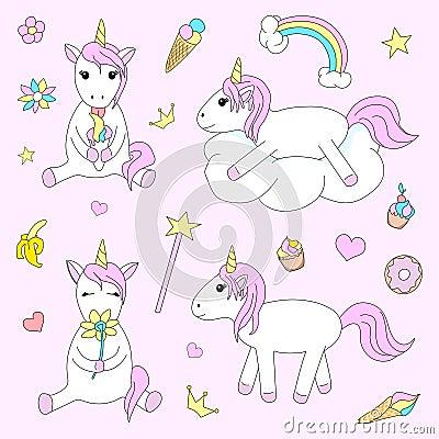 Set of cute unicorn on pink background. Cartoon Illustration