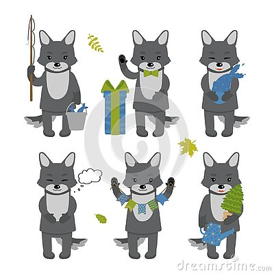 Set of cute wolf characters isolated on white background. Collection of autumn characters. Vector illustration in cartoon style Cartoon Illustration