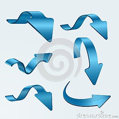 Set of 3D blue arrows