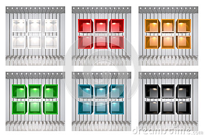 Set of 3D colourful shelves